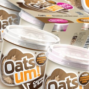 Oatsum Porridge Oats product branding and packaging design.